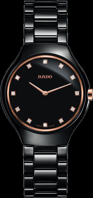 Damenuhr Rado True Thinline Diamonds S Quarz mit Diamanten, schwarzem Zifferblatt und Keramikarmband