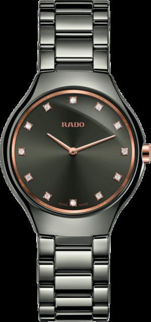 Damenuhr Rado True Thinline Diamonds S Quarz mit Diamanten, grauem Zifferblatt und Plasma-Keramikarmband