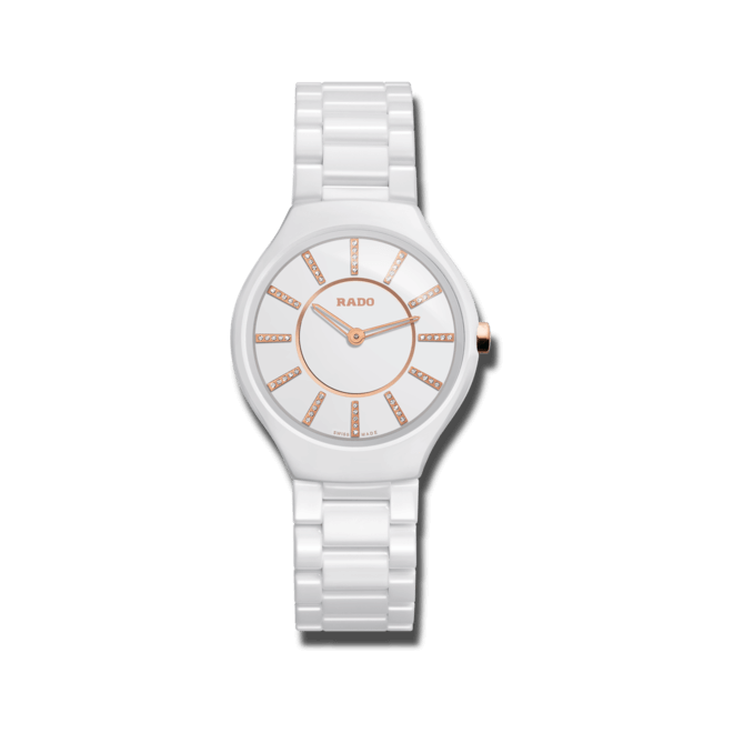 Armbanduhr Rado True Thinline Diamonds S Quarz mit Diamanten, weißem Zifferblatt und Keramikarmband