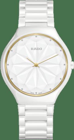Damenuhr Rado True Thinline Gem mit Diamanten, weißem Zifferblatt und Keramikarmband