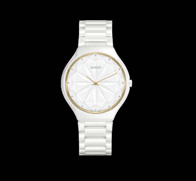Damenuhr Rado True Thinline Gem mit Diamanten, weißem Zifferblatt und Keramikarmband bei Brogle