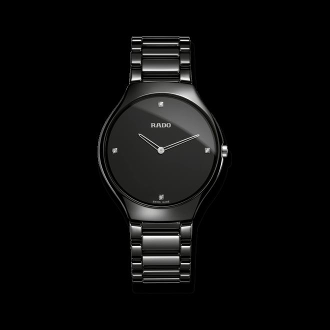 Armbanduhr Rado True Thinline L Quartz mit Diamanten, schwarzem Zifferblatt und Keramikarmband