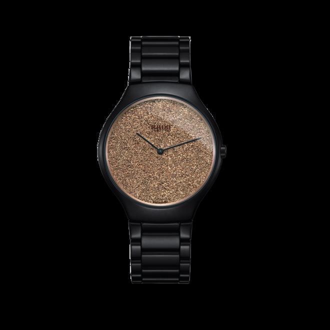 Damenuhr Rado True Thinline L Quarz mit bronzefarbenem Zifferblatt und Keramikarmband bei Brogle