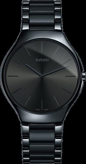 Damenuhr Rado True Thinline L Quarz mit grauem Zifferblatt und Keramikarmband