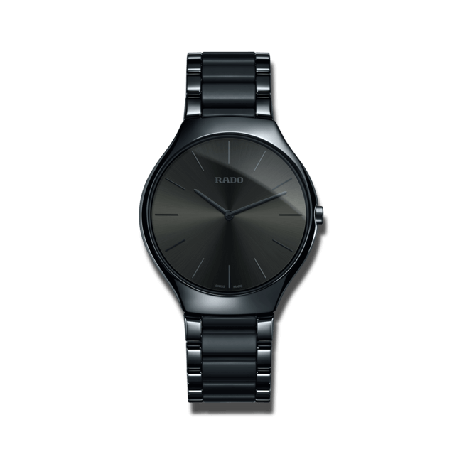 Armbanduhr Rado True Thinline L Quarz mit grauem Zifferblatt und Keramikarmband