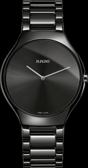 Damenuhr Rado True Thinline L Quarz mit schwarzem Zifferblatt und Keramikarmband