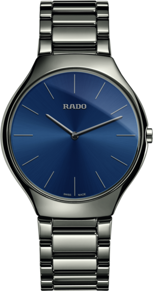 Damenuhr Rado True Thinline L Quarz mit blauem Zifferblatt und Plasma-Keramikarmband