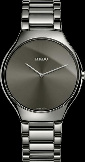 Damenuhr Rado True Thinline L Quarz mit grauem Zifferblatt und Plasma-Keramikarmband