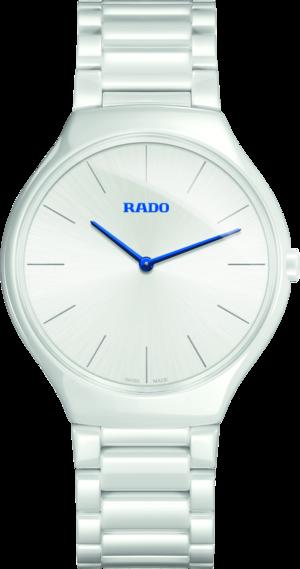 Damenuhr Rado True Thinline L Quarz mit weißem Zifferblatt und Keramikarmband