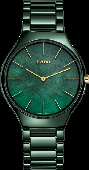 Damenuhr Rado True Thinline Leaf mit grünem Zifferblatt und Keramikarmband