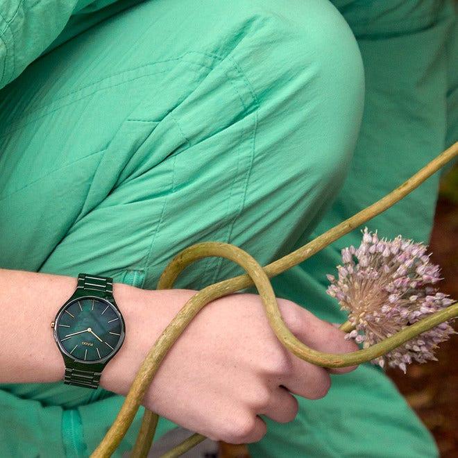 Damenuhr Rado True Thinline Leaf mit grünem Zifferblatt und Keramikarmband bei Brogle