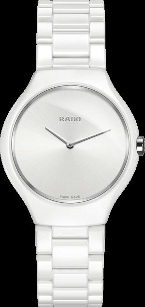 Damenuhr Rado True Thinline S Quarz mit weißem Zifferblatt und Keramikarmband