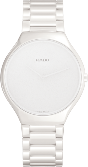 Armbanduhr Rado True Thinline Stillness L Quarz mit weißem Zifferblatt und Keramikarmband
