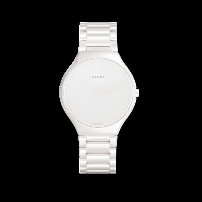 Armbanduhr Rado True Thinline Stillness L Quarz mit weißem Zifferblatt und Keramikarmband bei Brogle