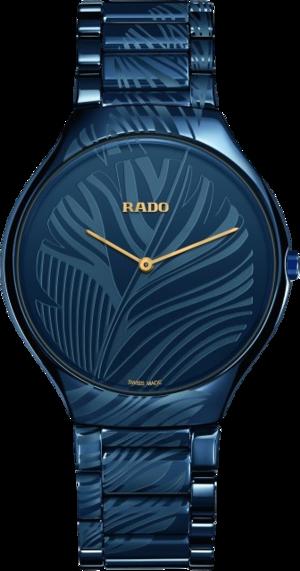 Damenuhr Rado Thinline L Quarz mit blauem Zifferblatt und Keramikarmband