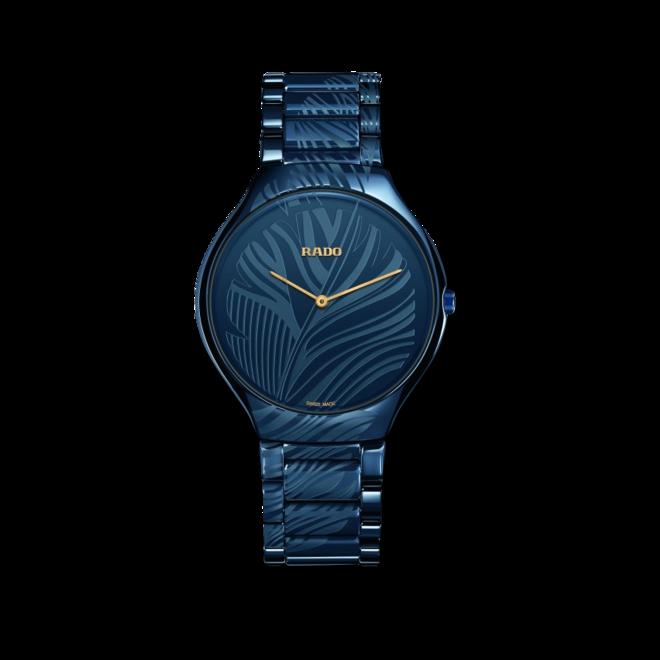 Damenuhr Rado Thinline L Quarz mit blauem Zifferblatt und Keramikarmband bei Brogle