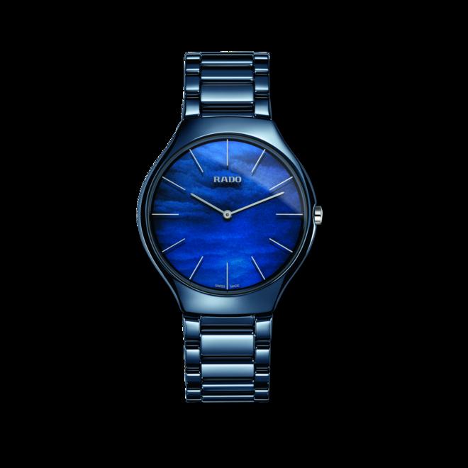 Damenuhr Rado True Thinline Water mit blauem Zifferblatt und Keramikarmband bei Brogle