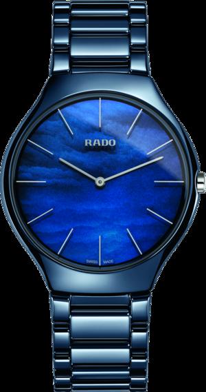Damenuhr Rado True Thinline Water mit blauem Zifferblatt und Keramikarmband