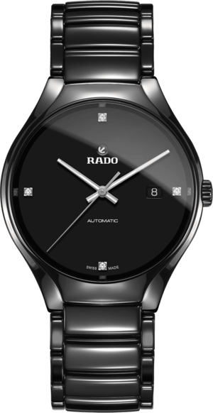 Herrenuhr Rado True Diamonds L Automatik mit Diamanten, schwarzem Zifferblatt und Keramikarmband