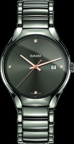 Herrenuhr Rado True Diamonds L Quarz mit Diamanten, grauem Zifferblatt und Plasma-Keramikarmband