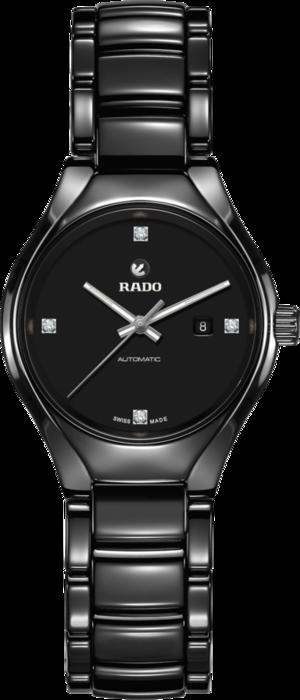 Damenuhr Rado True Diamonds S Automatik mit Diamanten, schwarzem Zifferblatt und Keramikarmband