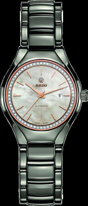 Damenuhr Rado True Diamonds S Automatik mit Diamanten, weißem Zifferblatt und Plasma-Keramikarmband
