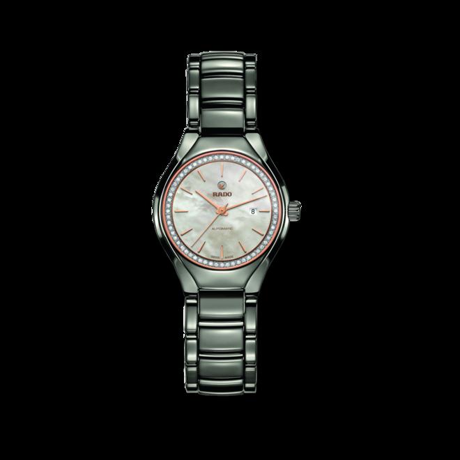 Damenuhr Rado True Diamonds S Automatik mit Diamanten, weißem Zifferblatt und Plasma-Keramikarmband bei Brogle