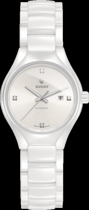 Damenuhr Rado True Diamonds S Automatik mit Diamanten, weißem Zifferblatt und Keramikarmband