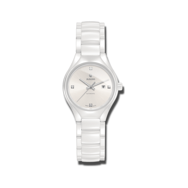 Damenuhr Rado True Diamonds S Automatik mit Diamanten, weißem Zifferblatt und Keramikarmband bei Brogle