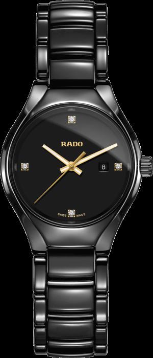 Damenuhr Rado True Diamonds S Quarz mit Diamanten, schwarzem Zifferblatt und Keramikarmband