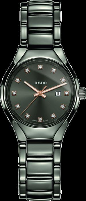 Damenuhr Rado True Diamonds S Quarz mit Diamanten, grauem Zifferblatt und Plasma-Keramikarmband