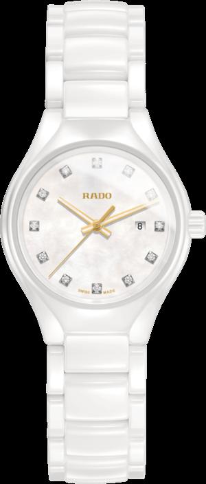 Damenuhr Rado True Diamonds S Quarz mit Diamanten, perlmuttfarbenem Zifferblatt und Keramikarmband