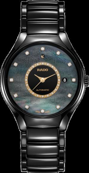 Armbanduhr Rado True Great Gardens of the World 40mm mit Diamanten, schwarzem Zifferblatt und Keramikarmband