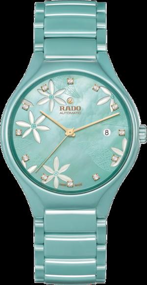 Armbanduhr Rado True Great Gardens of the World 40mm mit Diamanten, türkisfarbenem Zifferblatt und Keramikarmband