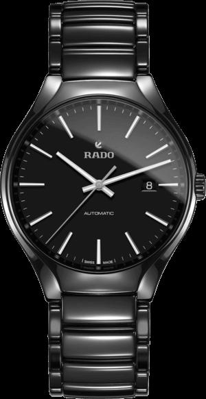 Herrenuhr Rado True L Automatik mit schwarzem Zifferblatt und Keramikarmband