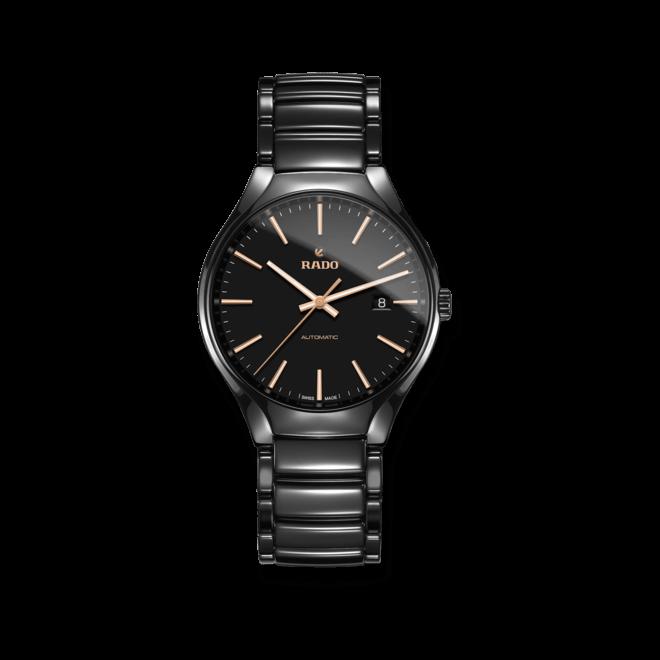 Armbanduhr Rado True L Automatik mit schwarzem Zifferblatt und Keramikarmband bei Brogle