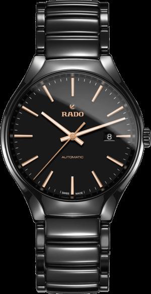 Armbanduhr Rado True L Automatik mit schwarzem Zifferblatt und Keramikarmband