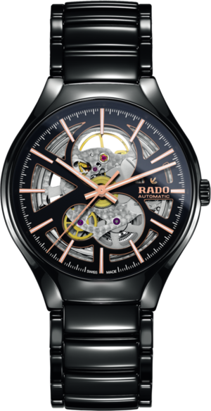 Armbanduhr Rado True L Open Heart mit schwarzem Zifferblatt und Keramikarmband