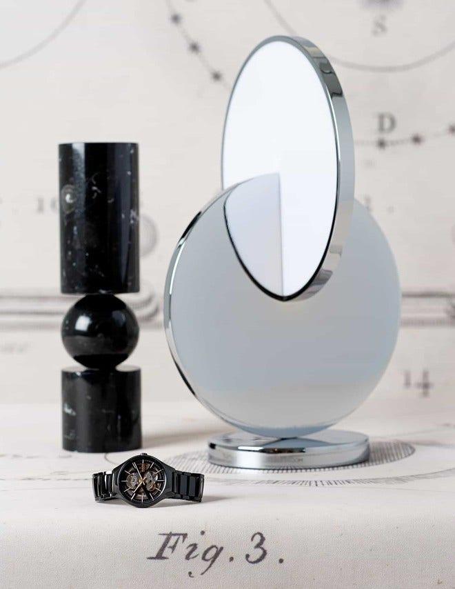 Armbanduhr Rado True L Open Heart mit schwarzem Zifferblatt und Keramikarmband bei Brogle