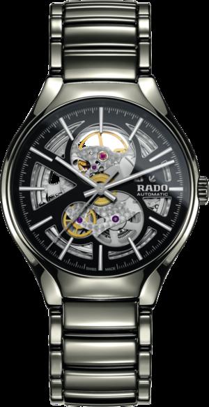 Armbanduhr Rado True L Open Heart mit schwarzem Zifferblatt und Plasma-Keramikarmband