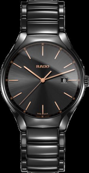 Herrenuhr Rado True L Quarz mit schwarzem Zifferblatt und Keramikarmband