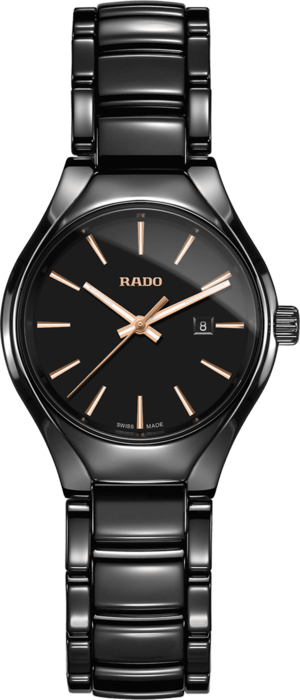 Damenuhr Rado True S Quarz mit schwarzem Zifferblatt und Keramikarmband
