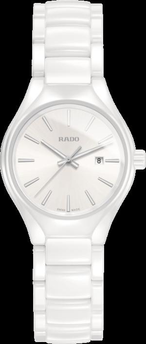 Damenuhr Rado True S Quarz mit weißem Zifferblatt und Keramikarmband