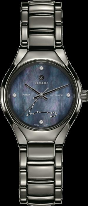 Damenuhr Rado True S Sternzeichen Fische mit Diamanten, blauem Zifferblatt und Plasma-Keramikarmband