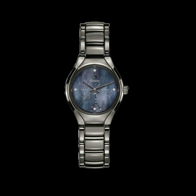 Damenuhr Rado True S Sternzeichen Krebs mit Diamanten, blauem Zifferblatt und Plasma-Keramikarmband bei Brogle