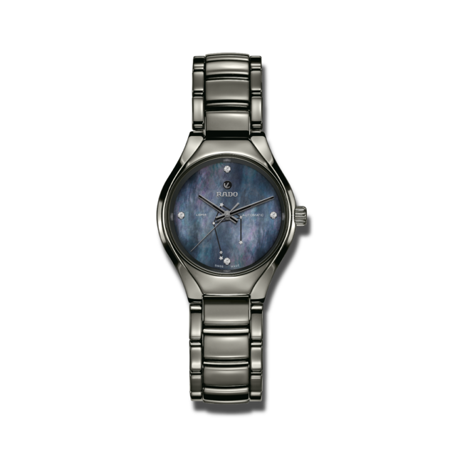 Damenuhr Rado True S Sternzeichen Waage mit Diamanten, blauem Zifferblatt und Plasma-Keramikarmband bei Brogle