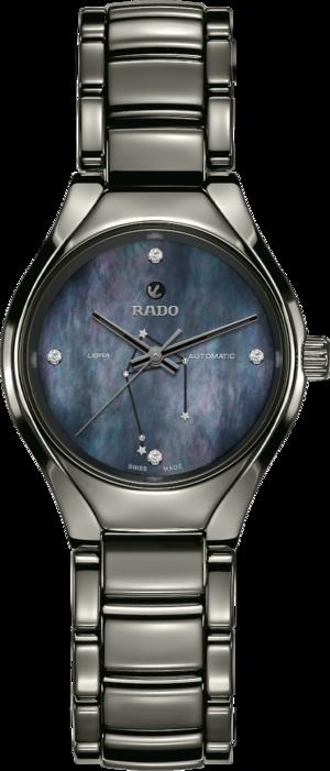 Damenuhr Rado True S Sternzeichen Waage mit Diamanten, blauem Zifferblatt und Plasma-Keramikarmband