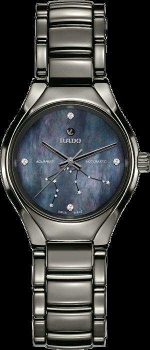 Damenuhr Rado True S Sternzeichen Wassermann mit Diamanten, blauem Zifferblatt und Plasma-Keramikarmband