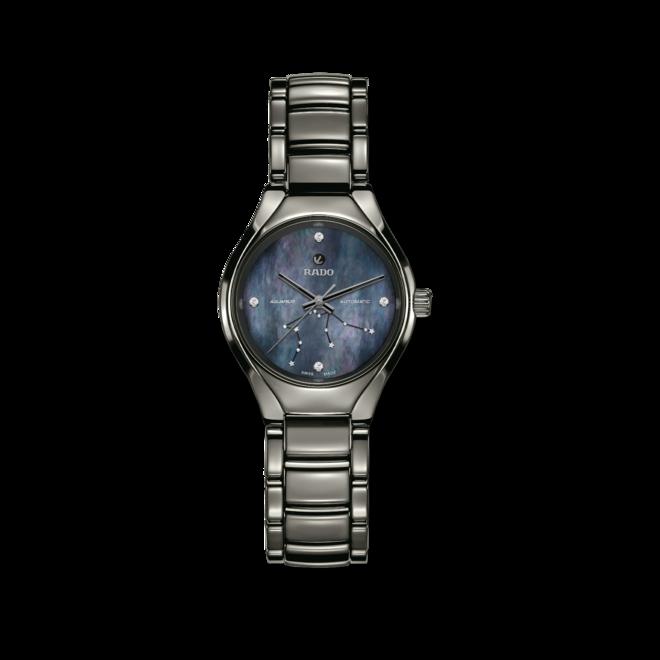 Damenuhr Rado True S Sternzeichen Wassermann mit Diamanten, blauem Zifferblatt und Plasma-Keramikarmband bei Brogle