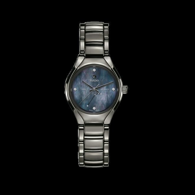 Damenuhr Rado True S Sternzeichen Widder mit Diamanten, blauem Zifferblatt und Plasma-Keramikarmband bei Brogle